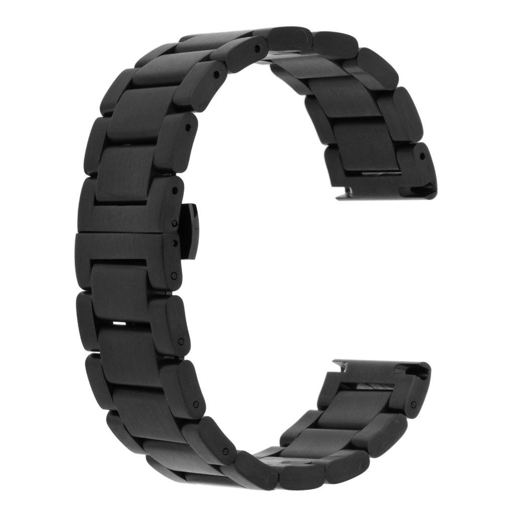 fenteerバンド幅22 mm 20 mm 18 mm腕時計プレミアムソリッドステンレススチール交換用ストラップバングル B078STH67BMatte Black 22mm