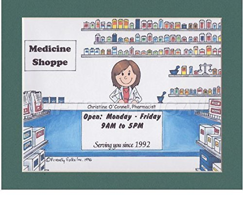Pharmacist Personalized Gift Custom Cartoon Print 8x10, 9x12 Magnet or Keychain by giftsbyabigail