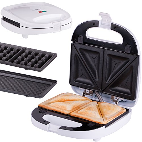 3 in 1 Sandwichmaker Waffeleisen Tischgrill ,Klick-System, Thermostat, Backampel, elektrischer Sandwichtoaster, 700 Watt, Kontaktgrill