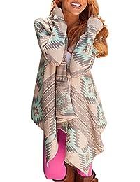 Smibra Womens Boho Causal Long Sleeve Drape Front Open Shawl Neck Cardigan Shirt Top