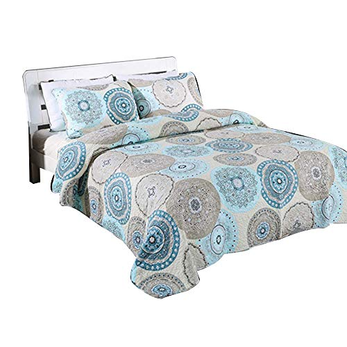 - Alicemall European Style Medallion Paisley Print Bed in a Bag Comforter Set 100% Cotton Gray Bedspread/ Quilt Set, 3 Pieces, Queen/King Size (Gray & Blue)