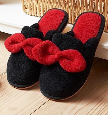 femminile coperta anti prua ciabatte carino e inverno pantofole caldo cotone Autunno antiscivolo Black casa di di AY48wtXxn