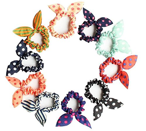 10PCS Random Color Elastic Bunny Ears Hair Bands Girls Ponytail Holder Cotton Stretch Hair Ties Rubber Styling Tools Headband Scrunchie Hair Accessories