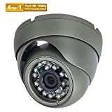 Hykamic CCTV Camera 2MP 1920x1080P 4-in-1 (TVI/AHD/CVI/960H Analog) Outdoor Security Dome Camera, True Day & Night Monitoring IP66, 3.6mm Lens (Dark Grey)