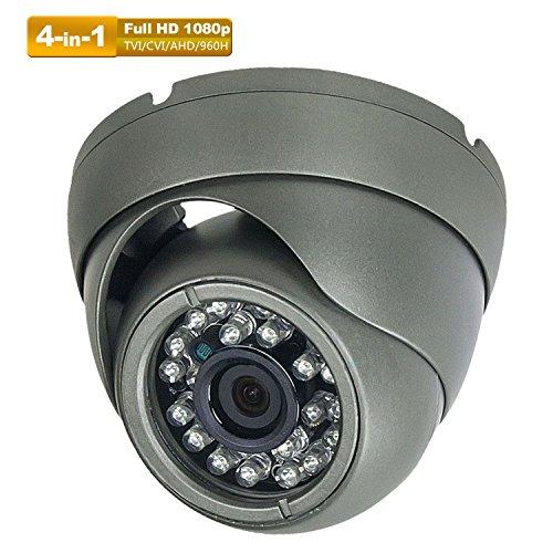 Hykamic CCTV Camera 2MP 1920x1080P 4-in-1 (TVI/AHD/CVI/960H Analog) Outdoor Security Dome Camera, True Day & Night Monitoring IP66, 3.6mm Lens (Dark Grey)
