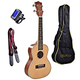Tenor, 26 Inch, Spruce Top, Mahogany Body Ukulele Bundle with 4 Items: Tuner, Uke Strap, 2 Installed Strap Pins and Carrying Gig Bag. Setup, Inspected and Guaranteed for Playability and Intonation