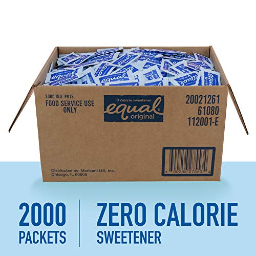 EQUAL 0 Calorie Sweetener, Aspartame Sugar Substitute, Zero Calorie Sugar Free Sweetener Packets, Sugar Alternative, 2,000 Count