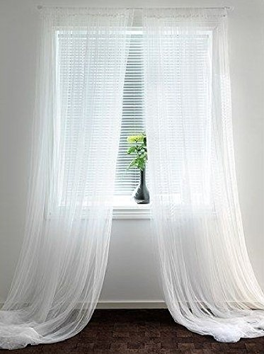 (Empire Home Solid Pure White Sheer Voile Curtain Window Curtain Panel / Valance (108