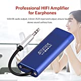 fosa Portable HIFI Earphone Amplifier with 3.5mm Audio Plug Mini Headphone Amplifier with 130mW Audio Output, 3.5mm AUX Input and Output Ultra-Long Working (Blue)