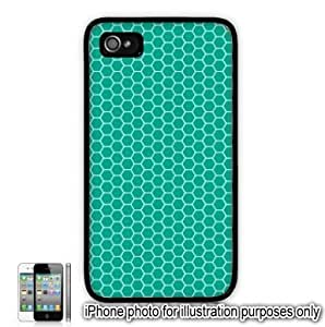 Teal Green Honeycomb Pattern Apple iPhone 4 4S Case Cover Skin Black