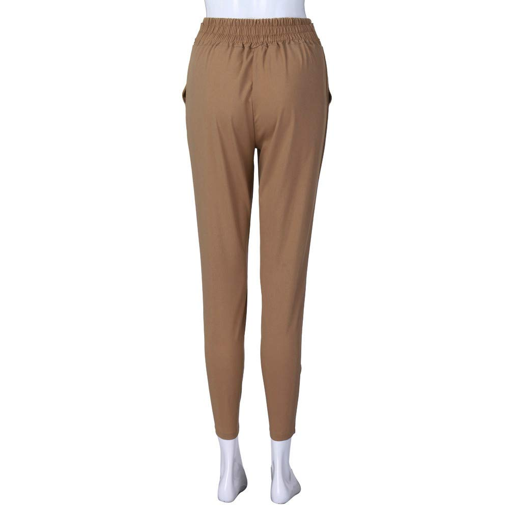 CCatyam Harem Pants for Women,Elastic Waist Stripe Solid Pocket Loose Nine Trousers Casual