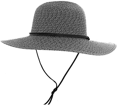 (Livingston Unisex UPF 50+ Wide Brim Braided Straw Sun Hat)
