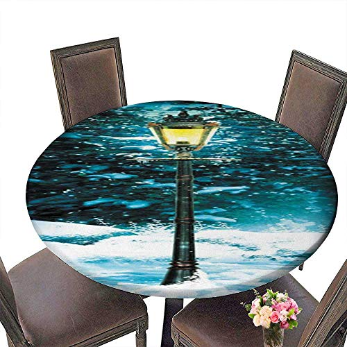 """PINAFORE Chateau Easy-Care Cloth Tablecloth The lamp in The Snow for Home, Party, Wedding 43.5""""-47.5"""" Round (Elastic Edge)"""