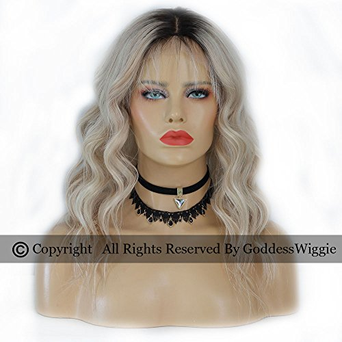 Goddess Wiggie Human Virgin Hair Lace Front Ombre Wigs Hair Colour Balayage Human Hair Blonde Wigs For Women (16inch 180density) by Goddess