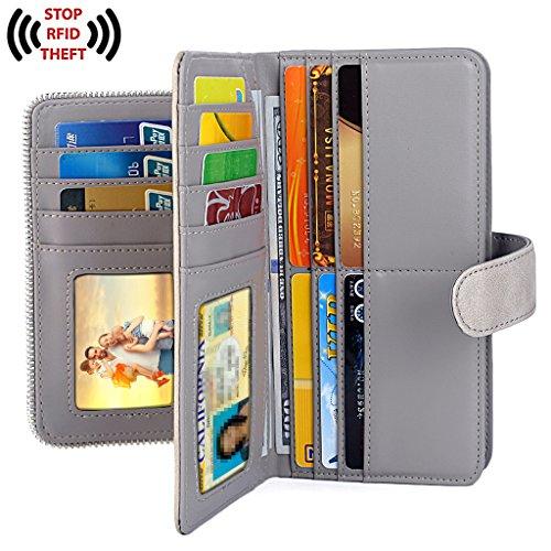 UTO Women PU Leather Wallet RFID Blocking Large Capacity 15 Card Slots Smartphone Holder Snap Closure D Grey by UTO (Image #2)