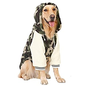 MaruPet Winter Warm Fleece Big Large Dog Coat Jacket Camouflage Dog Puppy Hoodie Pajamas Clothing Golden Retriever Pitbull Dog Clothes 7XL