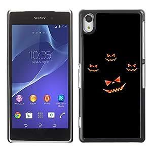 Sony Xperia Z2 - Metal de aluminio y de plástico duro Caja del teléfono - Negro - Halloween Pumpkin Laugh