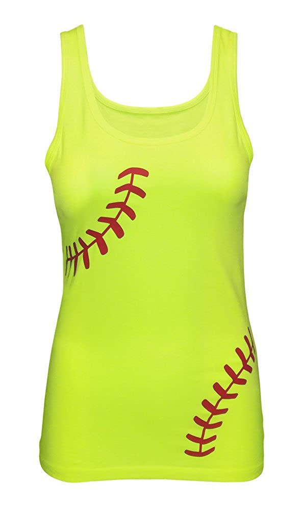 5fe46284699 Zone Apparel Women's Softball Tank Top - Fitted Laces Shirt Neon Yellow