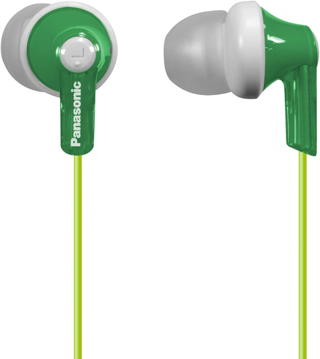 Panasonic ErgoFit In-Ear Earbud Headphones RP-HJE120-G (Green) Dynamic Crystal Clear Sound, Ergonomic Comfort-Fit
