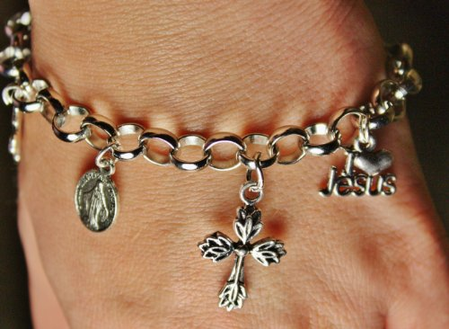 Christian Charm Bracelet with 5 Assorted (Cross Toggle Bracelet)
