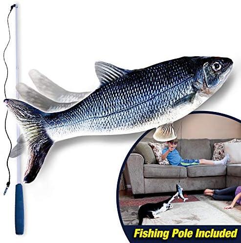Ontel Flippity Fish Cat Toy, flops y menea como un pez real, incluye caña de pescar y catnip 3