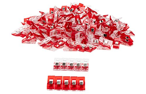 Sewing Clips - 200-Pack Quilt Clips, Binding Clips for Hold and Organize Fabric, DIY Craft Projects, Crochet, and Knitting, Red by Juvale