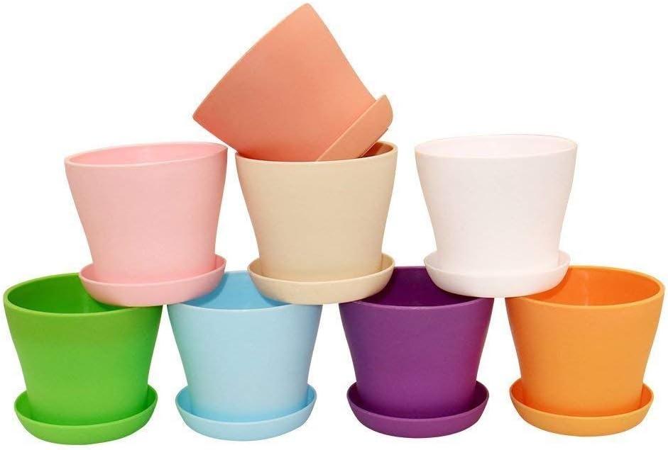 8 piezas de macetas de plástico de colores, macetas de plantas de interior de 10 cm con paletas para plantas de carne y otras plantas pequeñas