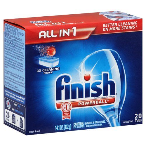 FINISH All in 1 POWERBALL Tabs Rinse Agent Automatic Dishwasher Detergent, Fresh Scent (8/Carton) - BMC-REC77050 by Miller Supply Inc