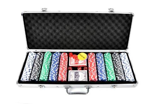 FA Sports 910 Casino Ocean 500-Piece Poker Chip Set, Silver, 58 x 24 x 7.5 cm by FA Sports by FA Sports