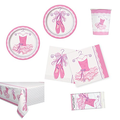 Unique Pink Ballerina Party Bundle | Luncheon & Beverage Napkins, Dinner & Dessert Plates, Table Cover, Cups | Great for Dance/Girly Birthday Themed ()