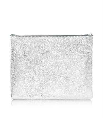 Montte Di Jinne -   100% Real Italian Leather  Soft   Large   Makeup Bag  Gift for Women (ROSE GOLD) SILVER
