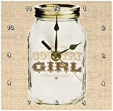 3dRose dc_165874_1 Mason Jar on Burlap Country Girl in Brown Desk Clock, 6 by 6″ Review
