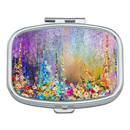 Abstract Floral Watercolor Painting Custom Rectangle Silver Pill Box Pocket Medicine Tablet Holder Organizer Pill Decorator Case Purse