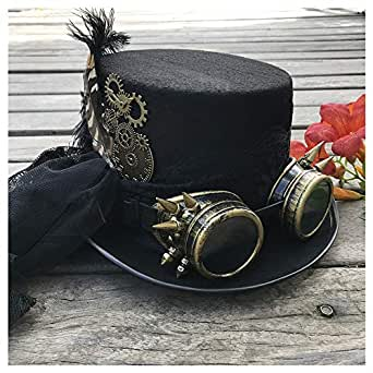 SHENTIANWEI 2019 Fashion Women Handmade Steampunk Top Hat with Gear Glasses and Lace Stage Magic Hat Party Hat Size 57CM (Color : Black, Size : 57)