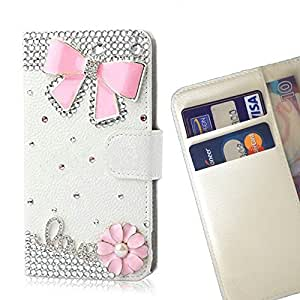 FOR Samsung GALAXY S5 Mini Crown Butterfly Bow Love Bling Bling PU Leather Waller Holder Rhinestone - - OBBA