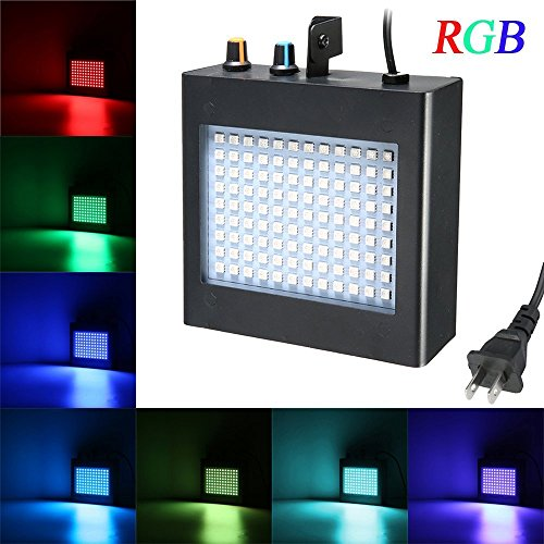 Disco Lights, SOLMORE 108 RGB LED Strobe Lights Auto Sound Activated DJ Party Lights Adjustable Flash Speed Control for Stage Lighting Wedding Show Club Pub Parties AC 90-240V 25W]()
