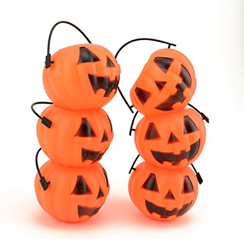 Adorox Small Mini Plastic Jack O Lantern Pumpkin Halloween Party Favor Candy Bucket Table Decoration Props (6) (Halloween Pumpkin Candy)