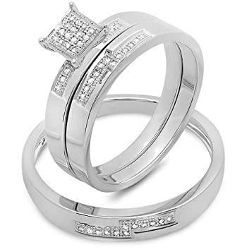 0.15 Carat (ctw) Sterling Silver Round White Diamond Men and Women's Micro Pave Engagement Ring Trio Bridal Set