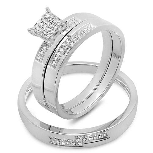 Dazzlingrock Collection 0.15 Carat (ctw) 10K Round White Diamond Men and Women's Micro Pave Engagement Ring Trio Bridal Set, White Gold