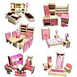 Timall Wooden Dollhouse Furniture Doll Accessories DIY Set Miniature Furniture Dollhouse Decoration Pretend Play Kids (Living Room)