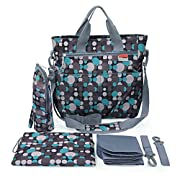 Diaper Bag - Shoulder and Stroller Diaper Bag, Life Waterproof, Blue Polka-dot