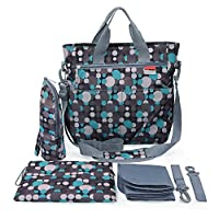 Diaper Bag - Shoulder and Stroller Diaper Bag, Waterproof, Blue Polka-dot