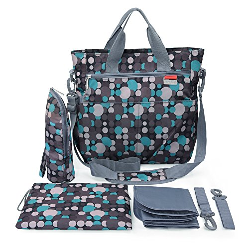 Diaper Bag – Shoulder and Stroller Diaper Bag, Waterproof, Blue Polka-dot