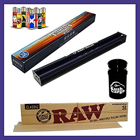 BUNDLE 4 ITEMS: Elements 12 Inch Rolling Machine + RAW 12 Inch Rolling Paper + KC Limited Ed Jar + Clipper Lighter Assorted