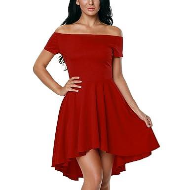 086165ff7dd Lauzal Damen Kleid Schulterfreies Cocktailkleid Festlich Abendkleid  Knielang Partykleid  Amazon.de  Bekleidung