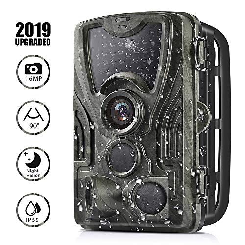 Trail Game Camera 16MP 1080P Full HD Hunting Scouting Camera 36pcs IR LEDs 0.3s Tigger Time 120°Detecting Range IP65 Waterproof Motion Activated Night Vision for Wildlife Monitoring Home ()