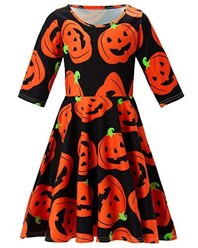4t 5t Girl Dress Infant Pumpkin Lantern Swing Dress Three Quarter Sleeve Furlough Swing Dress for Masquerade Autumn Willow Round Neck a One-Piece Garment for Girl (Pumpkin Lantern, 4-5 T) for $<!--$16.98-->