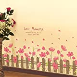 YUMULINN wallpaper stickers Wallpapers murals Baseboard waist pink love flower fence bedroom living room corner grass decorative wall stickers wallpaper stickers, 50X70CM