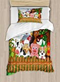 Ambesonne Cartoon Twin Size Duvet Cover Set, Composition Cute Farm Animals on Fence Comic Mascots with Dog Cow Horse Kids Design, Decorative 2 Piece Bedding Set with 1 Pillow Sham, Multicolor