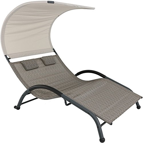Sunnydaze Double Chaise Lounger with Canopy Shade and Removable Pillows, Sienna